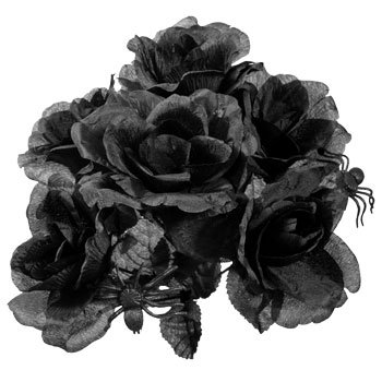 Halloween Black Rose Bouquet with Plastic Spiders! (Includes 2 which makes a bouquet as shown in picture))]()
