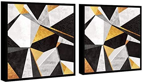 Amazon Com Chic Home Decor Geo France 2 Piece Set Framed Wrapped Canvas Wall Art Giclee Print Modern Gold Black White Marble Pattern Abstract Geometric Design Stretched Ready To Hang 23 X 46