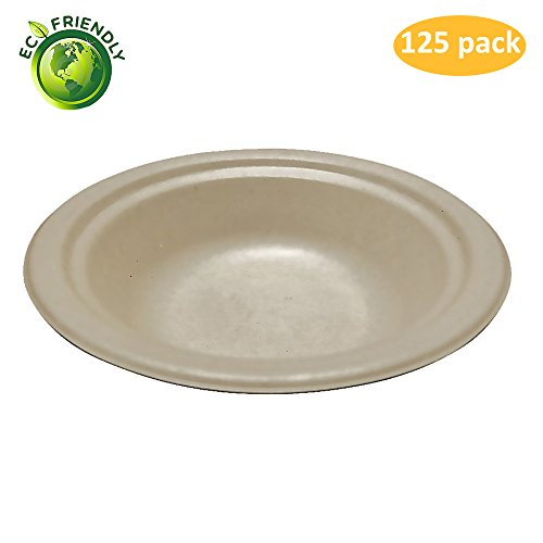 Greenpeak Disposable Bowls Set -14 oz. (125-Pack) Soup, Salads, Desserts | Compact, Round Dinnerware | Eco-Friendly, Biodegradable, Compostable | Microwave Safe