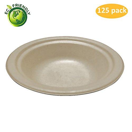 Greenpeak Disposable Bowls Set -14 oz. (125-Pack) Soup, Salads, Desserts | Compact, Round Dinnerware | Eco-Friendly, Biodegradable, Compostable | Microwave Safe