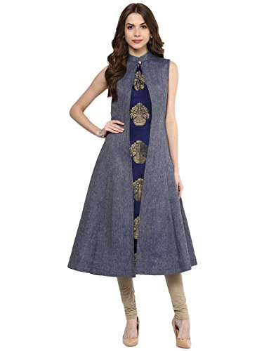 (Aahwan Indian Kurtis for Women Blue Denim and Taffteta Silk A-line Sleeveless Calf Long Dress Medium Blue)