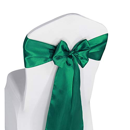 (Hunter Green Satin Chair Sashes Ties - 50 pcs Wedding Banquet Party Event Decoration Chair Bows (Hunter Green, 50))