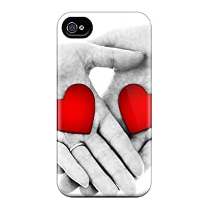 New Tpu Hard Case Premium Iphone 4/4s Skin Case Cover(hs With Hearts)