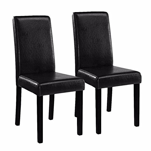 Set of 2 Black Elegant Design Leather Contemporary Dining Chairs by Tamsun
