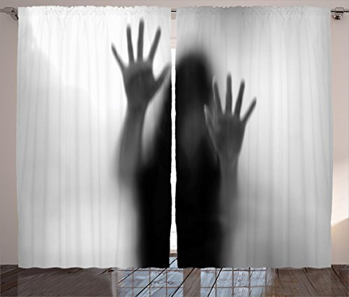 Horror House Decor Curtains by Ambesonne, Silhouette of Woman behind the Veil Scared to Death Obscured Paranormal Photo, Living Room Bedroom Window Drapes 2 Panel Set, 108W X 84L Inches, Gray by Ambesonne