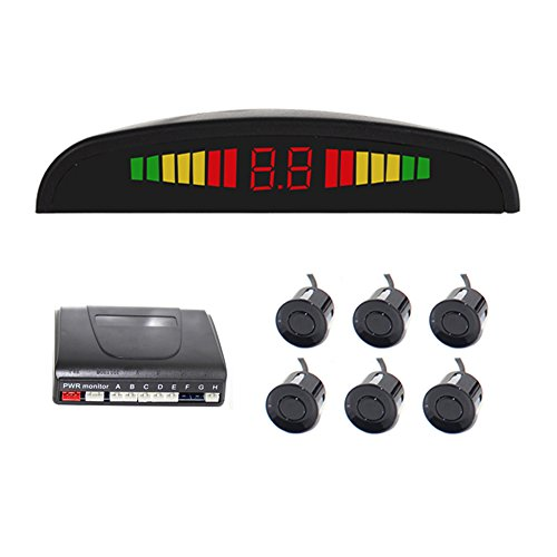 up Radar System Car Radar System Packing Sensor Kit 6 Sensors Auto Safety LED Display with Warning Buzzer ()