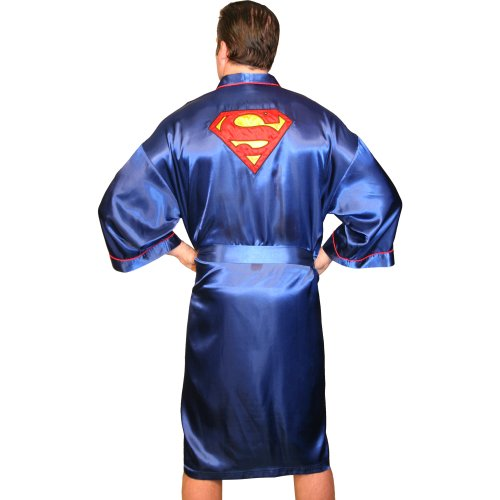 "Classic Men's Superman ""S"" Logo Blue Satin Robe"