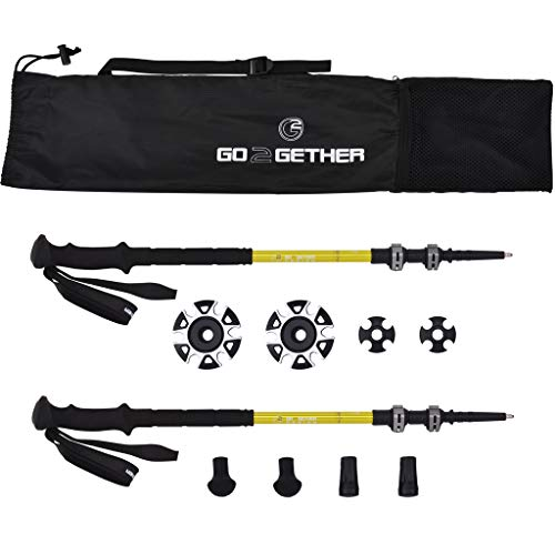 G2 GO2GETHER Expedition Trekking Poles Telescopic/Aircraft Aluminum Alloy/High Density Skin-Friendly Foam Handle/Auto-Adjustable Strap/Quick Flip Lock/Snow Baskets Attached (Pack of 2 Poles) (Adjustable Strap Quick)
