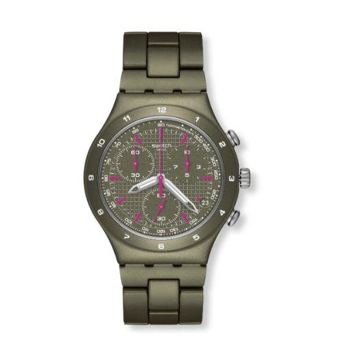 Swatch Men's YCM4002AG Quartz Aluminum Green Dial Chronograph Watch