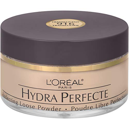 (L'Oreal Paris Hydra Perfecte Perfecting Loose Face Powder, Minimizes Pores & Perfects Skin, Sets Makeup, Long-lasting, with Moisturizers to Nourish & Protect Skin, Translucent, 0.5 fl. oz.)
