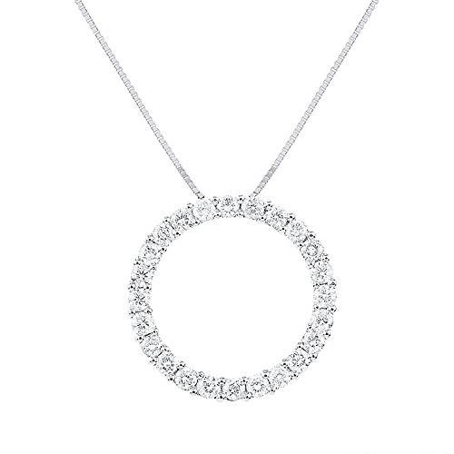 (Diamond Circle of Life Pendant Necklace 14K White Gold 1.30 Carats Diamonds)