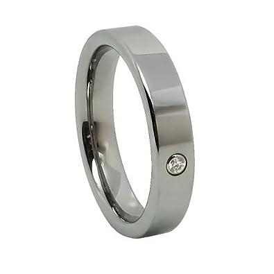 JewelryWe joyería 4 mm señorías-anillo brillante carburo de tungsteno ancho anillo compromiso matrimonio plata
