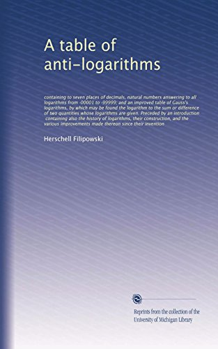- A table of anti-logarithms: containing to seven places of decimals, natural numbers answering to all logarithms from ·00001 to ·99999; and an improved ... of two quantities whose logarithms...