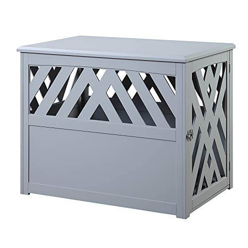 unipaws Wooden Pet Crate End Table with Pet Bed, Dog Crate Kennels, Home Deco Furniture Indoor Use, Modern Design Dog House, Gary ()