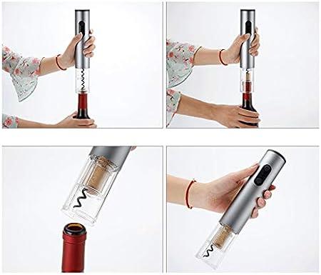 Sacacorchos para Botellas Sacacorchos eléctrico sencillo hogar automático del sacacorchos del vino del sacacorchos de plata portátil adecuado for los amantes del vino Abridor Botellas
