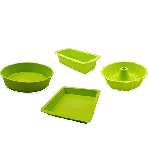 Marathon Housewares KW888SET25GR Premium Silicone Bakers Dream Cake Pan Set - 1 Round, 1 Square, 1 Loaf & 1 Bundt (Green) by Marathon Housewares