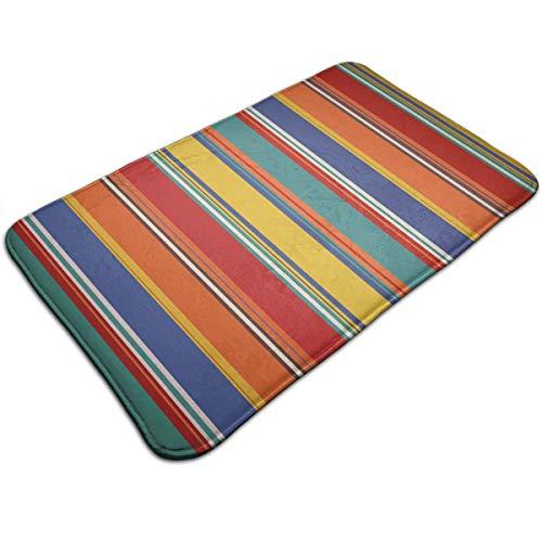 (Jingclor Doormat Entrance Floor Rug Colorful Stripe Funny Pattern Indoor Mat Non-Slip Flannel for Bedroom Bathroom Living Room Kitchen Home Decorative 80x50CM)
