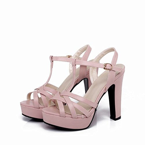 Carolbar Women's Fashion Charm T-Strap Block High Heel Platform Sandals Pink X3BSJ