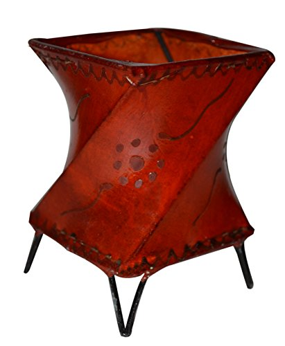 Candle Holder Handmade Moroccan Henna Leather Tea-light Votive Indoors/Outdoors, Events, Parties and Weddings Orange