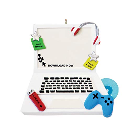 Personalized Computer Christmas Tree Ornament 2019 - Personal Notebook Laptop School Dorm Office Course First Addict Mac Party Music Gamer Student High Collage Teenage Young-Ster - Free Customization