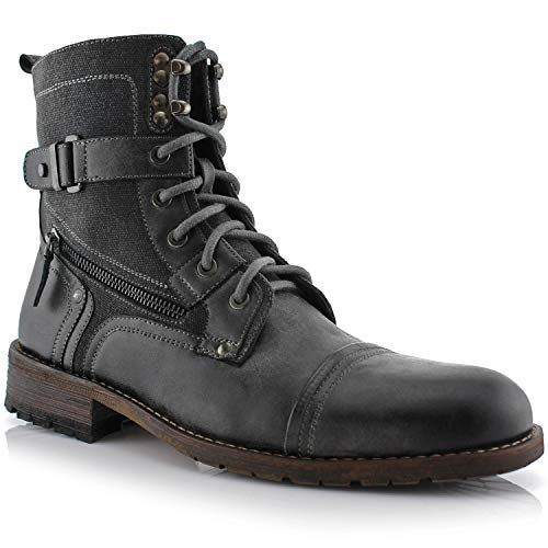Polar Fox Asher MPX808585 Mens Cap Toe Ankle Lace-up Dress Combat Motorcycle Boots Grey