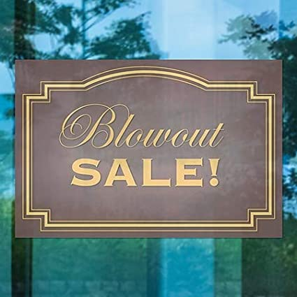 36x24 Blowout Sale CGSignLab Classic Brown Window Cling