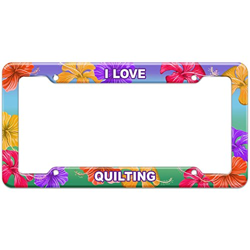 Graphics and More Tropical Hibiscus License Plate Frame I Love Sports Hobbies Qu-Sc - - Frames Framing Quilting