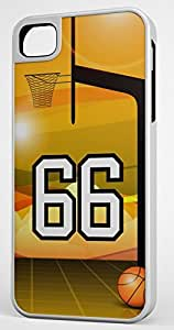 Basketball Sports Fan Player Number 66 White Rubber Hybrid Tough Case Decorative iPhone 5c Case