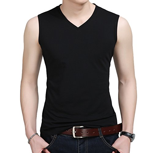 YinQ Mens Casual V-Neck Sleeveless Tee Shirts Gym Muscle T-Shirts Sport Tank Tops (Large (43-45), Black) ()