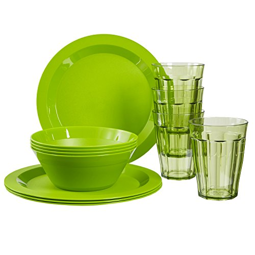 Cambridge Plastic Plate, Bowl and Tumbler Dinnerware | 12-piece set Green -