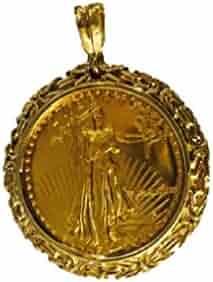 22K Fine Gold 1 Oz American Eagle Coin -14K Frame Byzantine Pendant 5940(Random Year Coin)