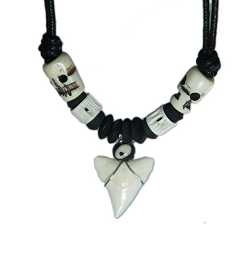 Exoticdream Real Shark Tooth Necklace Reggae Rasta Jamaican Surfer Hawaiian Beach Boys Girls Men - Skull Bead
