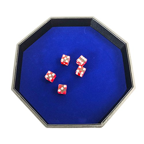 YH Poker 11.5 Inch Octagon Dice Tray - Heavy Duty Leatherette with Blue Velvet Rolling Surface by YH Poker