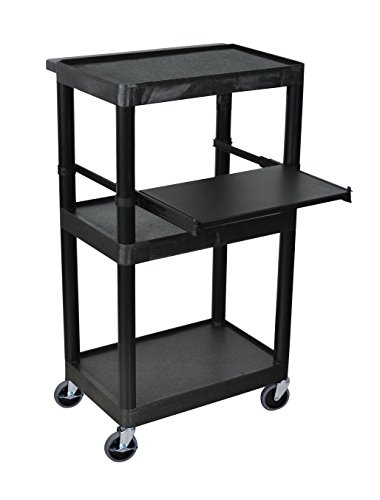 LUXOR LT45-B Mobile Presentation WorkStation 3 Shelf Cart With Tray, Black