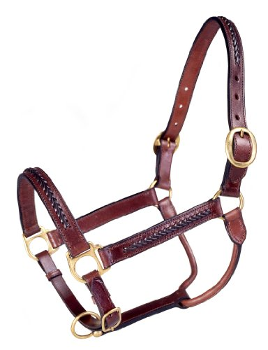 Tough 1 Royal King Braided Leather Halter, Brown - Raised Leather Halter