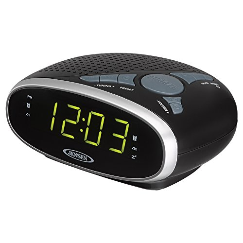 Jensen JCR175 AM/FM Alarm Clock Radio with 0.9-Inch Green LED (Alarm Clock Ipod Shuffle)