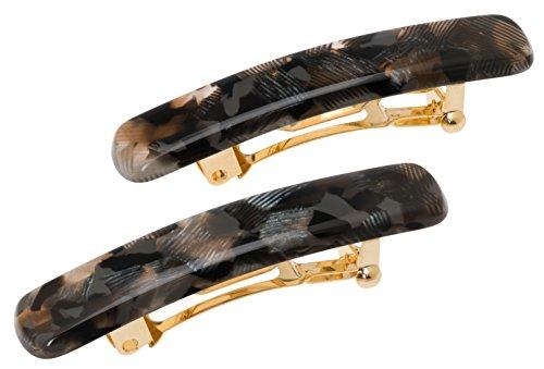 France Luxe Mini Rectangle Barrette Pair - Pavlova Black