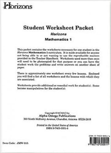Math Worksheets math worksheets online free : Horizons Mathematics 1 Student Worksheet Packet: Horizons ...