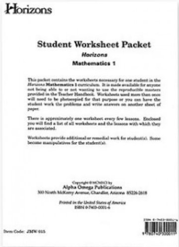 Horizons Mathematics 1 Student Worksheet Packet (Student Worksheet Packet)