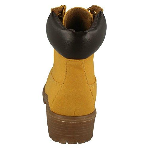 jaune Pour Lacets Spot On Honey Bottes Femmes wBRnxqYaO