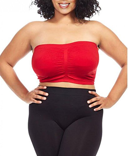 Dinamit Women's Plus Size Seamless Padded Bandeau Tube Top Bra Red 1X-2X (Soft Bandeau Cup)