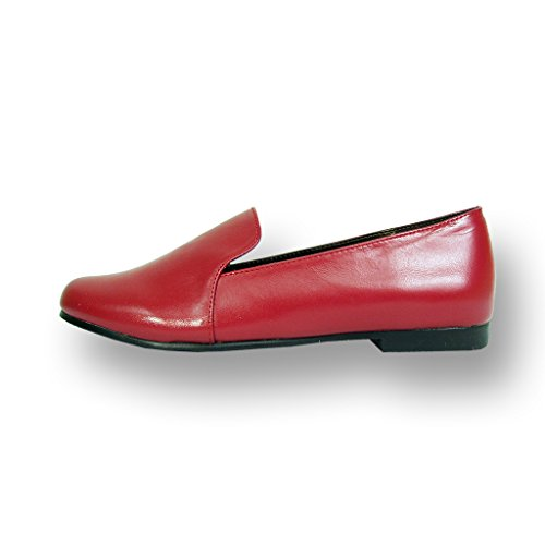 FIC PEERAGE Charlie Women Wide Width Leather Flat for Everyday Life (Size & Measurement Guides Available) Red o6MQ5NmEy
