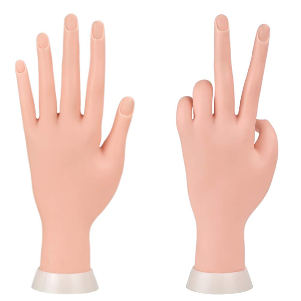 Duable Trainer Training Manicure Practice Hands & Fingers Nail Hand Practice Model Flexible Movable Soft Plastic Hand for Fake Nail Art Starter Training
