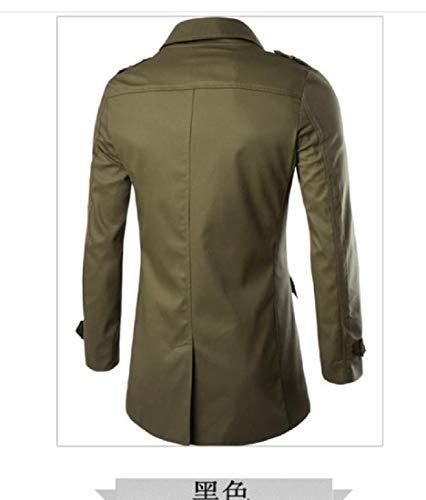 Mid Men Collar Jacket Green Khaki Long Coat Down Howme Turn Army Trench Premium HYwwdO