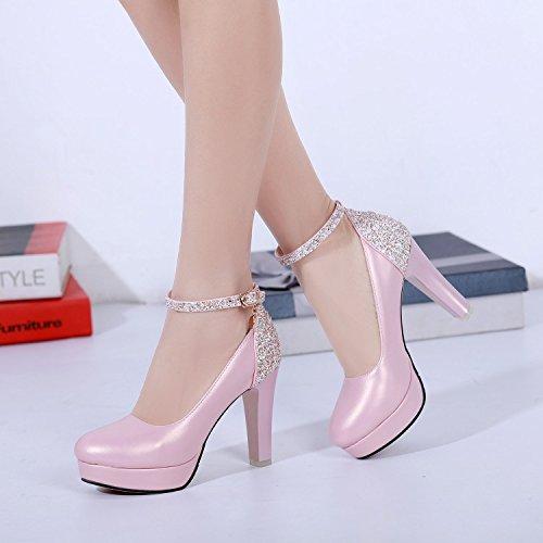 De Zapatos Zapatos NuevePink Partido KHSKX Moda Rough Color Hebilla Impermeable Nueva Y De MujerTreinta Zapatos Palabra Documental Todo Coreana Ronda qEaWtaw