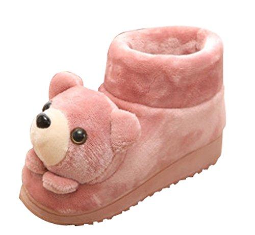 Cattior Dames Harige Schattige Warme Honden Pantoffels Slipper Boots Rood