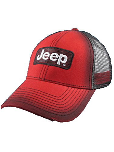 Jeep Red Mesh Back Cap (Jeep Men For Hats)
