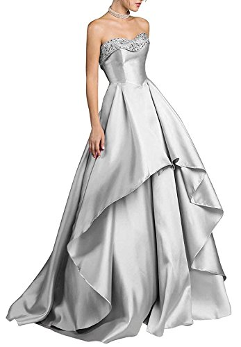 LUBridal Women's Strapless Beaded Ruched Satin Evening Dress High Low with Pocket Prom Dresses Silver US8