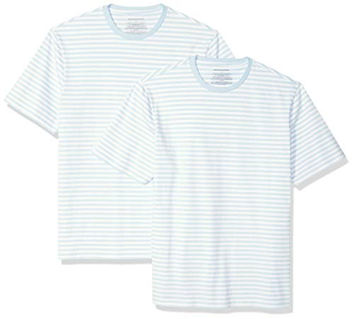 Amazon Essentials Men's Loose-Fit Short-Sleeve Stripe Crewneck T-Shirts, Aqua/White, X-Large