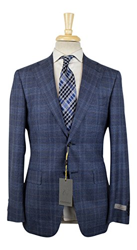 Canali 1934 Blue Plaid Wool 2 Button Slim Fit Suit for sale  Delivered anywhere in USA